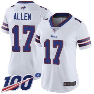 cheap nfl jerseys ebay Women\'s Buffalo Bills #17 Josh Allen White Stitched 100th Season Vapor Limited Jersey cheap real nfl jerseys